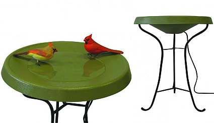 Select Heated Pedestal Bird Bath Green