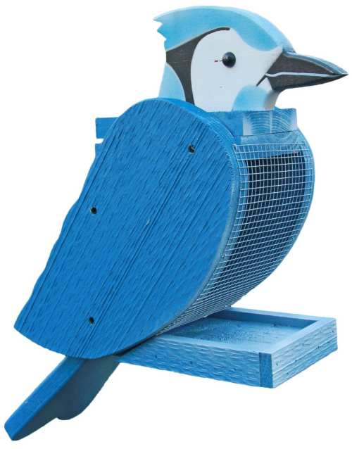 Amish Handcrafted Wooden Bird Feeder Blue Jay