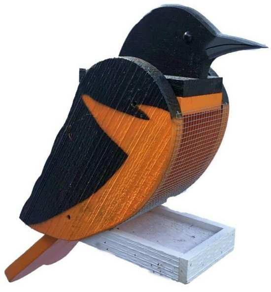 Amish Handcrafted Wooden Bird Feeder Oriole