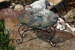Scrollwork Table Top Bird Bath Stand