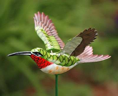 Charming WindyWings Hummingbird Garden Stake   Ruby Throated Hummingbird