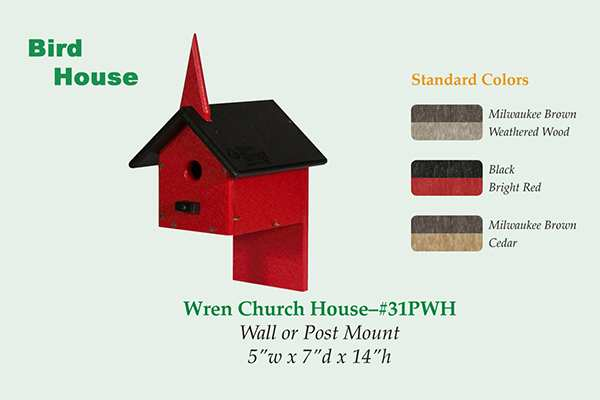 Amish Recycled Poly Wren Church House
