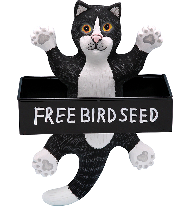 For The Birds Dangling B&W Cat Square Tray Feeder
