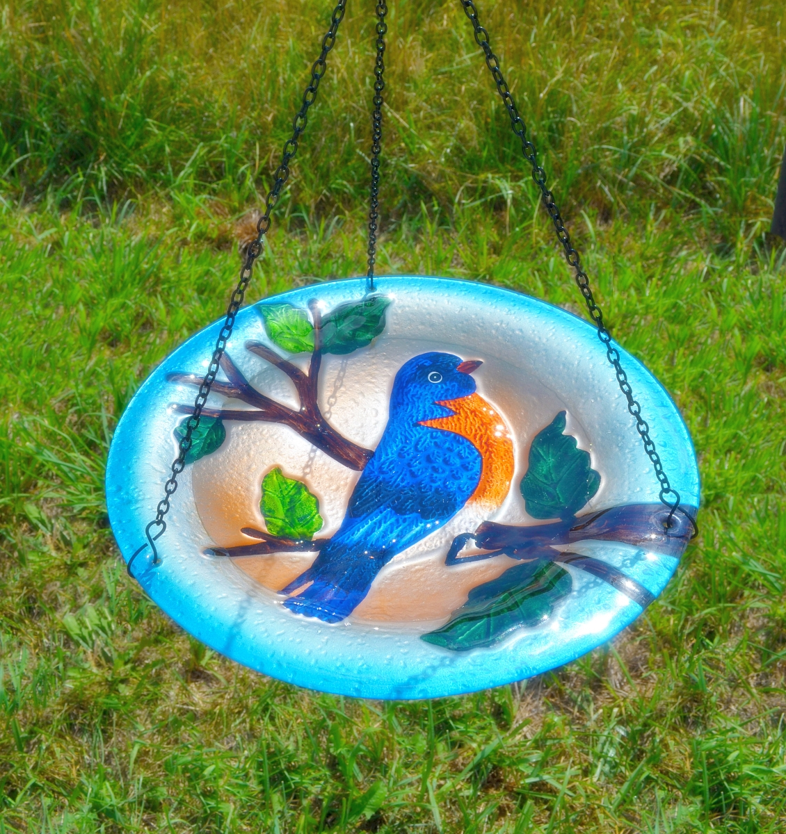 Embossed Bluebird Glass Hanging Birdbath