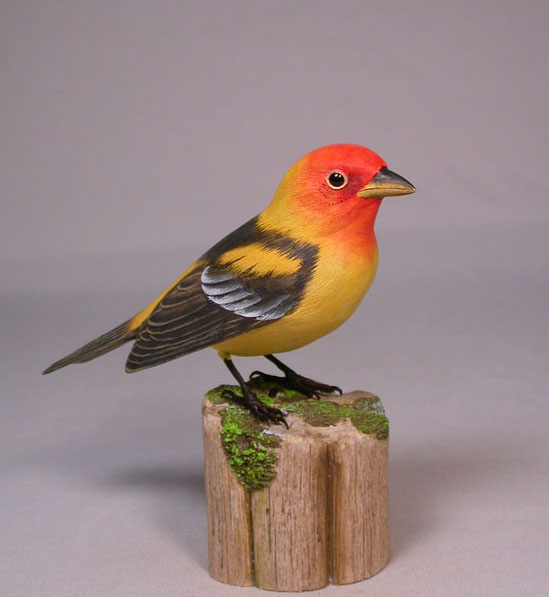 Original Wood Bird Carvings Western Tanager Carved Wood Bird