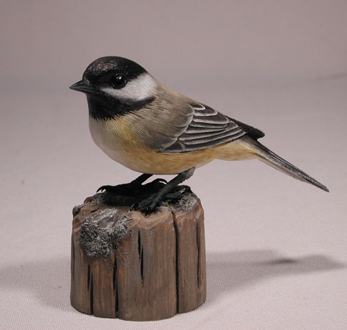 Original wood bird carvings black capped chickadee