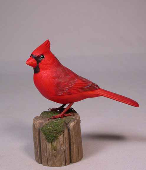 Original wood bird carvings quot male northern cardinal