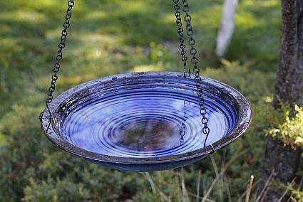 Alcyon Circles Hanging Bird Bath Cobalt Blue
